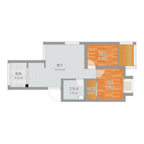 广厦怡庭2室1厅1卫1厨59.00㎡户型图
