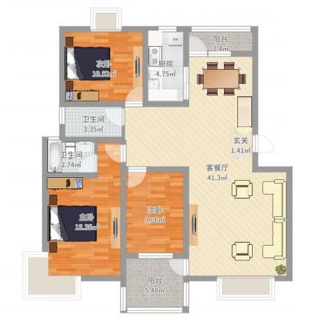 河畔花城3室2厅2卫1厨119.00㎡户型图