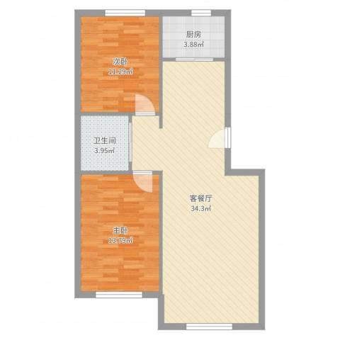 光大领仕馆2室2厅1卫1厨84.00㎡户型图