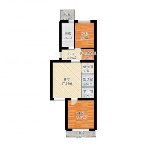 杨庄北区2室3厅1卫1厨76.00㎡户型图