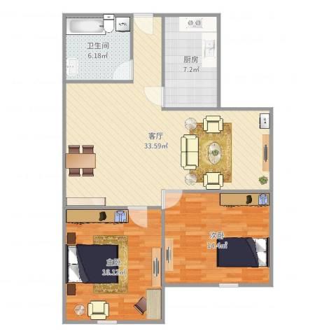 罗山六村2室1厅1卫1厨97.00㎡户型图
