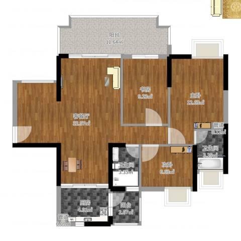 城市假日E区3室2厅2卫1厨109.00㎡户型图