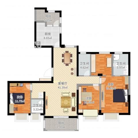 ART蓝山3室2厅3卫1厨156.00㎡户型图
