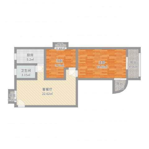 飞越虹桥锦馨苑2室2厅1卫1厨82.00㎡户型图