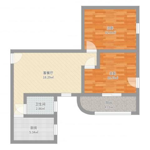 飞越虹桥锦馨苑2室2厅1卫1厨68.00㎡户型图