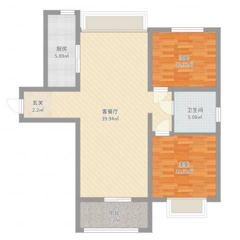 禹洲尊府2室2厅1卫1厨98.00㎡户型图