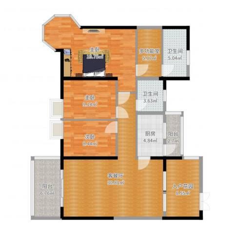 麒麟花园3室2厅2卫1厨131.00㎡户型图