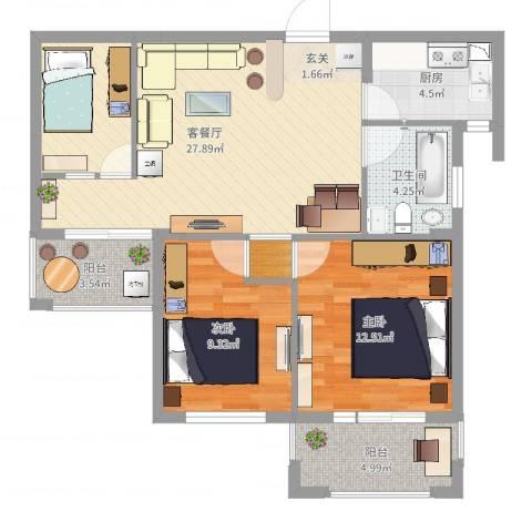 水岸天际2室2厅1卫1厨85.00㎡户型图