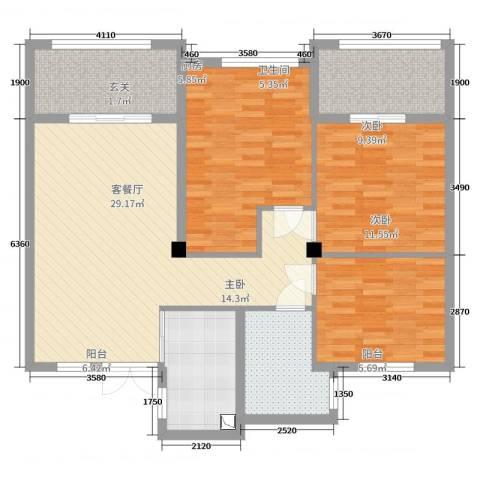 江苏徐州市丰县翡翠城小区3室2厅1卫1厨111.00㎡户型图