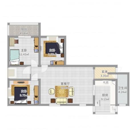 来泉山庄3室2厅1卫1厨107.00㎡户型图