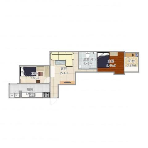 绿景馨园2室1厅1卫1厨60.00㎡户型图