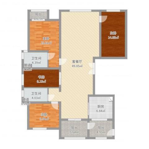 万正广场4室2厅2卫1厨122.03㎡户型图