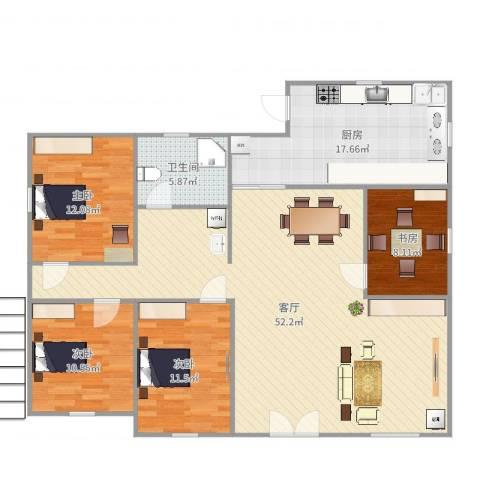 公园11号4室1厅1卫1厨147.00㎡户型图