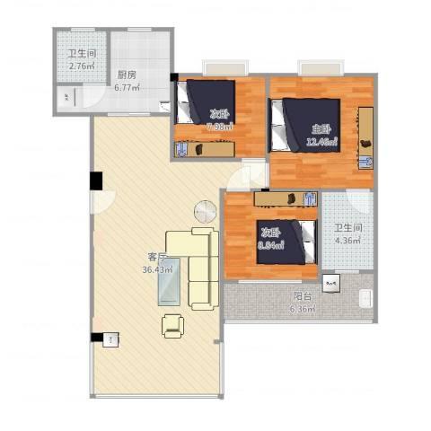 假日江南雅筑3室1厅2卫1厨107.00㎡户型图