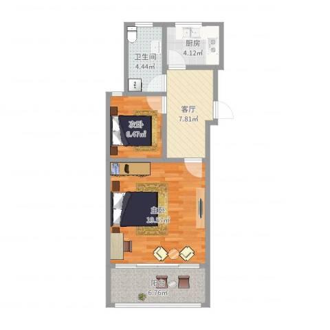金杨七街坊2室1厅1卫1厨61.00㎡户型图