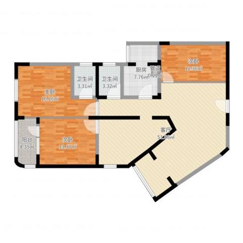 华脉新村3室1厅2卫1厨140.00㎡户型图