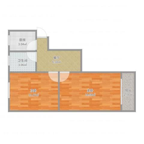 程桥二村2室1厅1卫1厨51.00㎡户型图