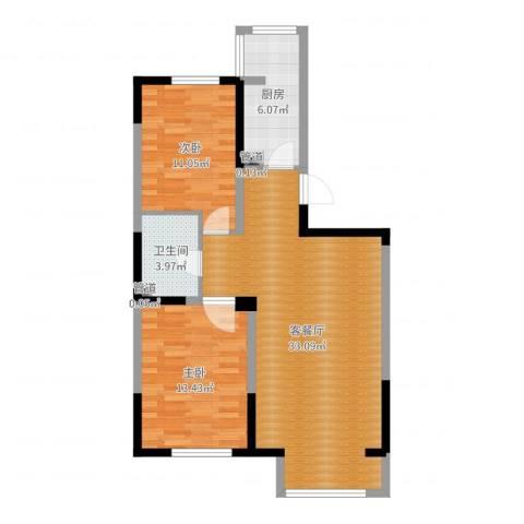 马德里皇家水岸2室2厅2卫2厨85.00㎡户型图