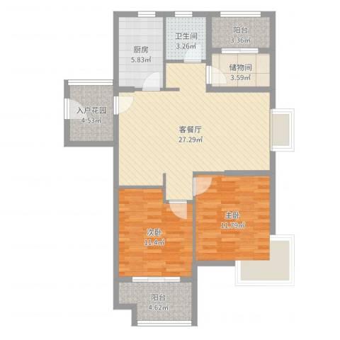 蜜橙2室2厅1卫1厨95.00㎡户型图