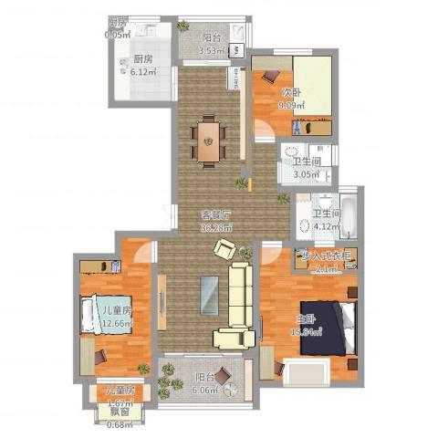 文东花园4室2厅3卫3厨127.00㎡户型图