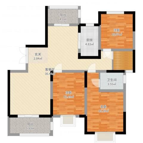 海棠花园3室2厅1卫1厨119.00㎡户型图
