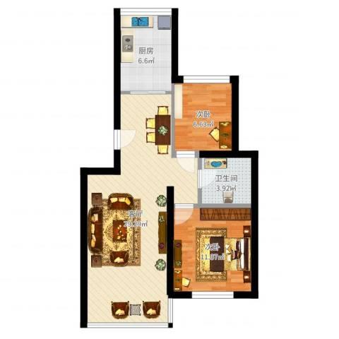 江航路60弄瑞和新苑15号302室(麻先生)2室1厅1卫1厨72.00㎡户型图