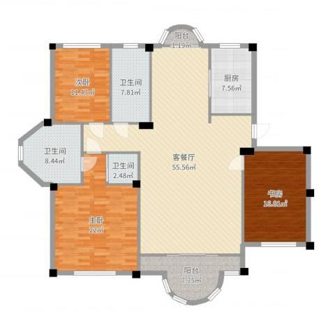 青云林海3室2厅3卫1厨175.00㎡户型图