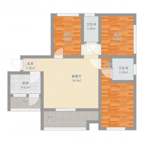 三江国际丽城c区澜岸3室2厅2卫1厨111.00㎡户型图