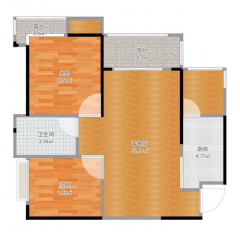 珠海奥园广场2室2厅1卫1厨72.00㎡户型图