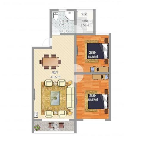 呼玛五村2室1厅1卫1厨67.98㎡户型图