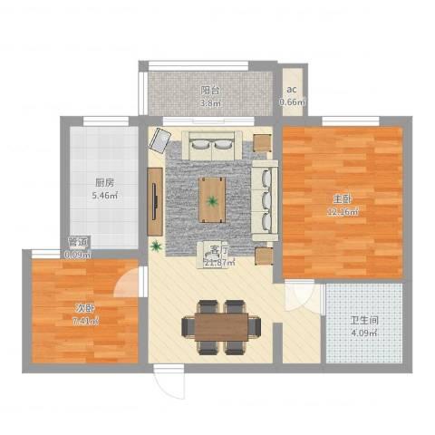 汇林阁2室1厅1卫1厨69.00㎡户型图
