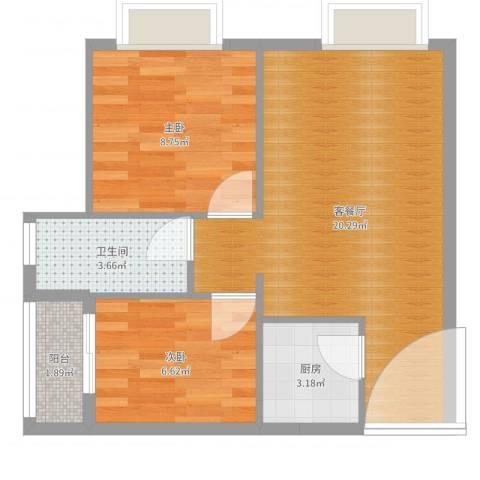 卓越时代广场2室2厅1卫1厨55.00㎡户型图