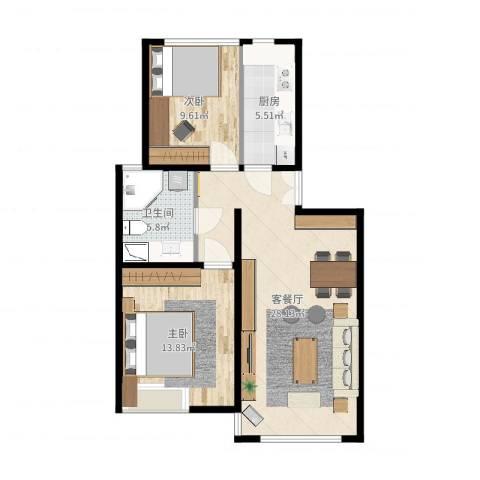 中天汇丽华城2室2厅1卫1厨79.00㎡户型图