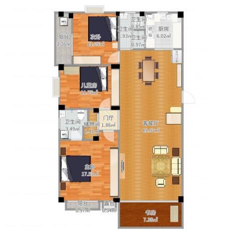 长房西城湾4室2厅4卫1厨135.00㎡户型图