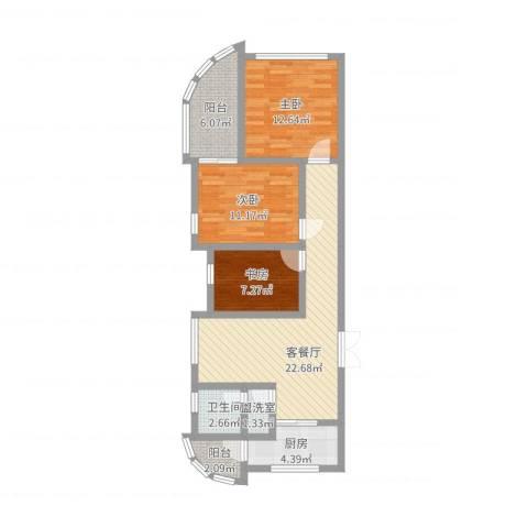 金水湾B区3室4厅1卫1厨70.30㎡户型图