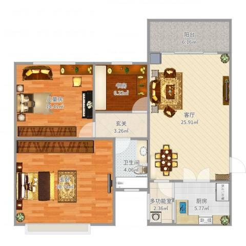 太原恒大绿洲3室1厅1卫1厨111.00㎡户型图