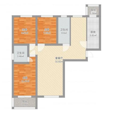 大通君澜3室2厅2卫1厨100.00㎡户型图