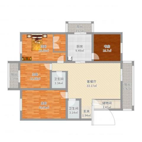 福泽温泉公寓4室2厅2卫1厨153.00㎡户型图