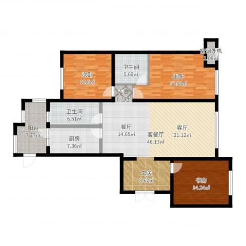 金安向日葵3室2厅2卫1厨149.00㎡户型图