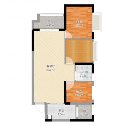 海伦春天2室2厅1卫1厨83.00㎡户型图