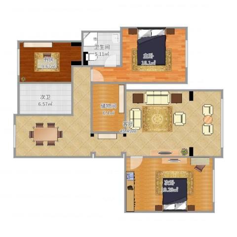 兴创屹墅3室1厅1卫1厨136.00㎡户型图