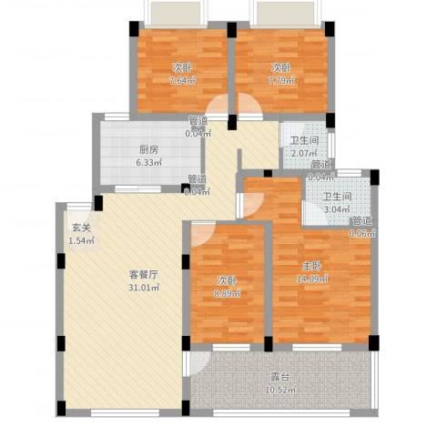 锦翠嘉苑4室2厅2卫1厨114.00㎡户型图