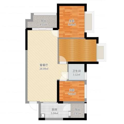 海伦春天2室2厅1卫1厨87.00㎡户型图