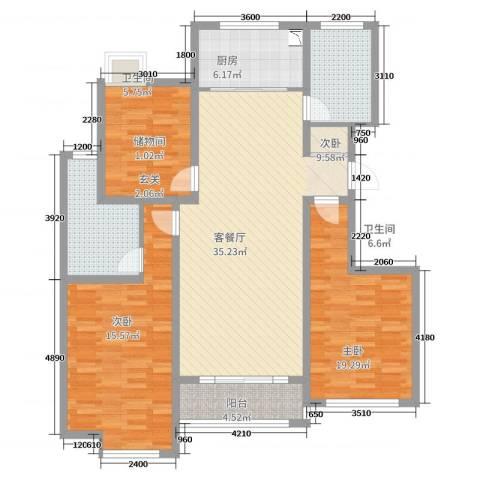 万和华府3室2厅2卫1厨125.00㎡户型图