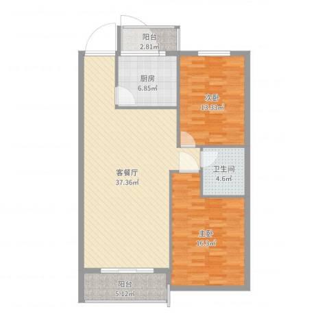 万众家园2室2厅1卫1厨108.00㎡户型图
