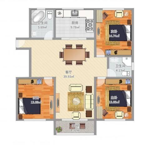 双秀家园北园3室1厅2卫1厨131.00㎡户型图