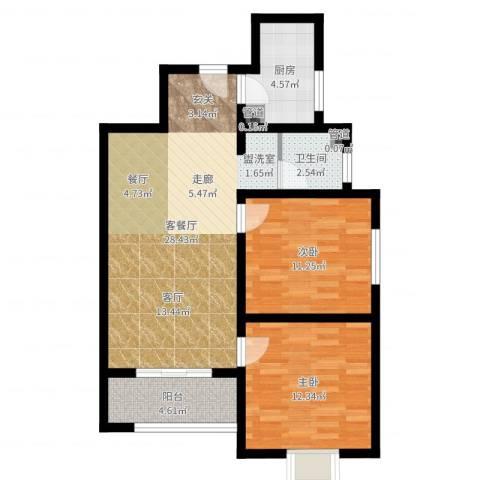 香缤国际城2室2厅1卫1厨80.00㎡户型图