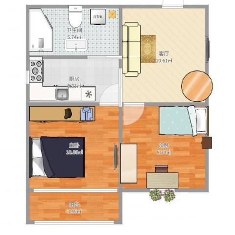 建国西路70号洋房2室1厅1卫1厨56.00㎡户型图