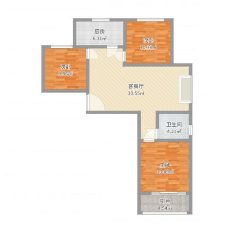 新富专家公寓3室2厅1卫1厨99.00㎡户型图