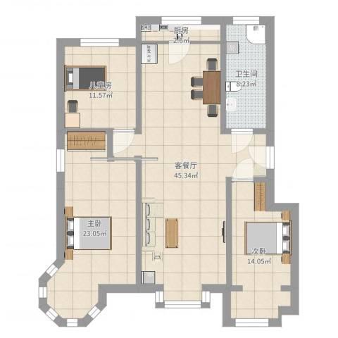 国泰新都-20#-西13室2厅1卫1厨131.00㎡户型图